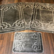 ROMANY WASHABLES GYPSY MATS 4PC SETS NON SLIP GERMAN BOARDER CHARCOAL GREY RUGS